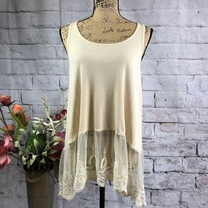 Umgee Long Lace Ruffle ruffle Boho Tunic Women